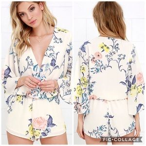 Lulu's Sing The Blooms Creme Floral Romper